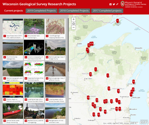 Image link to a story map of the Survey's research projects