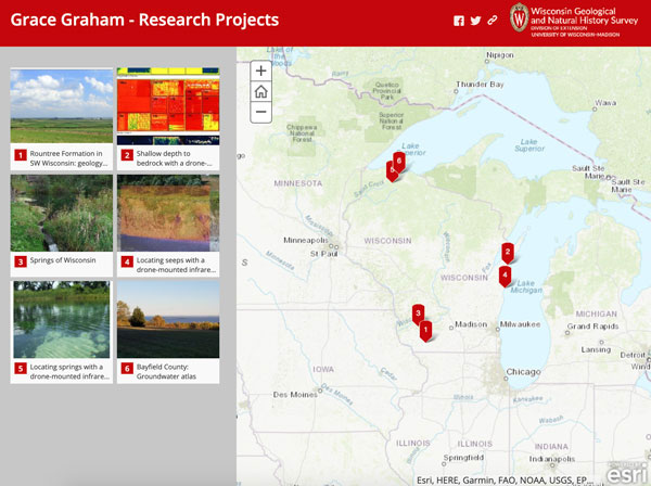 Screenshot of Grace Graham's projects story map