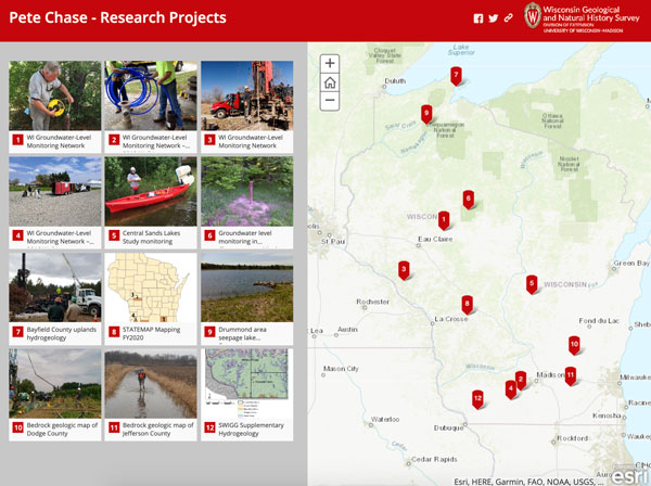 Screenshot of Pete Chase's projects story map