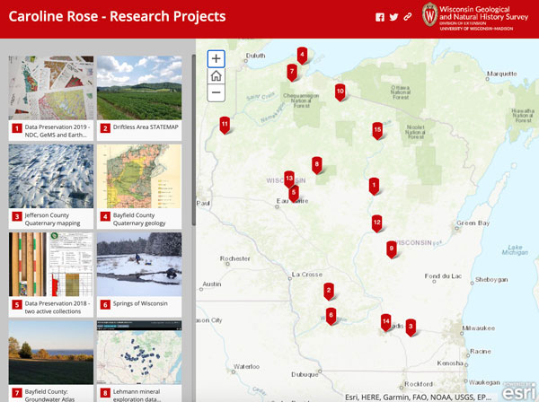 Screenshot of Caroline Rose's projects story map