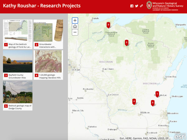 Screenshot of Kathy Roushar's projects story map