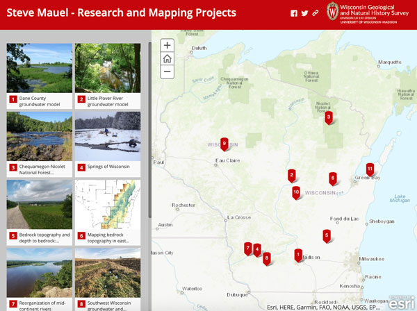 Screenshot of Steve Mauel's projects story map