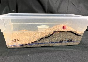 Shoebox groundwater model with the land surface and water table marked on the side